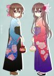 2girls alternate_costume blue_background bow brown_hair commentary_request floral_print flower full_body hair_bow hair_flower hair_ornament hakama japanese_clothes kantai_collection kimono kisaragi_(kantai_collection) long_hair long_sleeves looking_at_viewer multiple_girls mutsuki_(kantai_collection) nagasioo parted_lips red_eyes short_hair simple_background smile twitter_username violet_eyes wide_sleeves