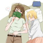 2girls bangs black_belt blouse book brown_pants casual closed_eyes closed_mouth covering_face darjeeling eyebrows_visible_through_hair girls_und_panzer green_shirt holding holding_book long_sleeves looking_at_another lying messy_hair multiple_girls nishizumi_maho notebook on_side pants pillow pink_skirt shirt short_hair short_sleeves skirt sleeping spoken_blush spoken_zzz t-shirt v-neck white_blouse yuri yuuhi_(arcadia) zzz