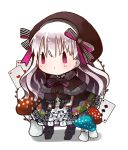 1girl ace_of_hearts bangs beret black_bow black_capelet black_dress black_footwear black_gloves black_hat blush boots bow capelet card chibi closed_mouth commentary_request dress elbow_gloves eyebrows_visible_through_hair fate/extra fate_(series) food_print full_body fur-trimmed_capelet gloves gothic_lolita hair_between_eyes hat heart knee_boots lolita_fashion long_hair mushroom mushroom_print nursery_rhyme_(fate/extra) playing_card puffy_short_sleeves puffy_sleeves short_sleeves silver_hair solo spade_(shape) standing striped striped_bow very_long_hair violet_eyes yuzuyomogi