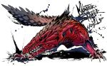 blue_eyes claws closed_mouth commentary_request copyright_name drooling fighting_stance full_body fuse_ryuuta monster_hunter monster_hunter:_world no_humans odogaron sharp_teeth simple_background snout solo standing tail teeth white_background