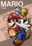1boy artist_request blue_eyes brown_footwear brown_hair character_name f.l.u.d.d. facial_hair fire fireball gloves hat highres mario mario_(series) mustache open_hand open_mouth outstretched_arm overalls red_shirt shirt shoes solo super_mario_bros. super_smash_bros. white_gloves