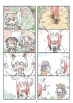>_< 4koma 6+girls animal_ears bangs blunt_bangs cerulean_(kemono_friends) character_request comic fangs hands_up head_wings highres japanese_crested_ibis_(kemono_friends) kemono_friends magnifying_glass multicolored_hair multiple_4koma multiple_girls murakami_rei page_number pointing redhead silent_comic southern_tamandua_(kemono_friends) white_hair yellow_eyes