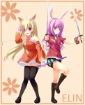 2girls ahoge animal_ears bare_shoulders black_footwear black_legwear blonde_hair blush boots breasts closed_mouth collarbone dog_ears dual_wielding elin_(tera) eyebrows_visible_through_hair highres holding holding_sword holding_weapon knee_boots large_breasts long_hair looking_at_viewer looking_away multiple_girls open_mouth psyche3313 purple_hair rabbit_ears red_eyes smile solo sword tera_online thigh-highs violet_eyes weapon