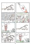 4koma 6+girls :d \o/ ^_^ arms_up bangs blunt_bangs cerulean_(kemono_friends) character_request closed_eyes comic head_wings highres japanese_crested_ibis_(kemono_friends) kemono_friends multicolored_hair multiple_4koma multiple_girls murakami_rei music musical_note northern_white-faced_owl_(kemono_friends) okapi_(kemono_friends) okapi_ears open_mouth otter_ears outstretched_arms page_number redhead silent_comic singing small-clawed_otter_(kemono_friends) smile white_hair