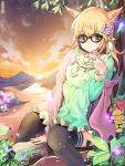 1girl :3 animal_ears artist_name black_legwear blonde_hair blush breasts cat_ears closed_mouth damda eyebrows_visible_through_hair flower glasses green_eyes hair_flower hair_ornament long_hair long_sleeves looking_at_viewer medium_breasts mushroom original outdoors sitting smile solo sunset thigh-highs