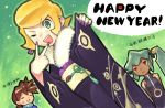 ! 1boy 2girls blonde_hair brown_hair commentary_request dark_skin fur-trimmed_kimono fur_trim green_eyes green_hair happy_new_year japanese_clothes kimono kin_niku long_hair matilda_caskett multiple_girls nail_polish new_year obi one_eye_closed open_mouth partially_translated purple_nails red_eyes rock_volnutt rockman rockman_dash sash short_hair smile speech_bubble sweatdrop text translation_request wide_sleeves