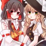 2girls :o annoyed ascot bare_shoulders black_hair blonde_hair blouse blush bow braid breasts buttons green_eyes hair_bow hair_tubes hand_holding hat hat_bow jitome large_bow long_hair looking_at_viewer medium_breasts multiple_girls puffy_short_sleeves puffy_sleeves red_eyes ribbon-trimmed_sleeves ribbon_trim shimashiro_itsuki short_sleeves side_braid single_braid skirt skirt_set straight_hair touhou wavy_hair witch_hat yellow_neckwear