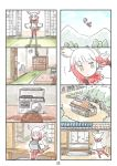 1girl 4koma bangs blunt_bangs cassette_player comic flying head_wings highres house japanese_crested_ibis_(kemono_friends) kemono_friends multicolored_hair multiple_4koma murakami_rei page_number redhead silent_comic solo white_hair yellow_eyes