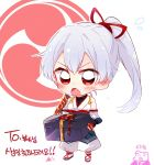 1girl bare_shoulders blush box chibi closed_eyes commentary_request detached_sleeves dot_nose ear_blush fate/grand_order fate_(series) flying_sweatdrops holding holding_box japanese_clothes long_hair open_mouth pig ponytail red_eyes red_ribbon ribbon sandals silver_hair six_(fnrptal1010) tomoe_gozen_(fate/grand_order) translation_request