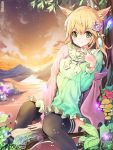 1girl :3 animal_ears artist_name black_legwear blonde_hair blush breasts cat_ears closed_mouth damda eyebrows_visible_through_hair flower green_eyes hair_flower hair_ornament long_hair long_sleeves looking_at_viewer medium_breasts mushroom original outdoors sitting smile solo sunset thigh-highs