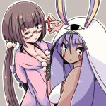 2girls animal_ears bangs bare_shoulders black_eyes blunt_bangs breasts chocolate_hair cleavage commentary_request dark_skin directional_arrow facial_mark fate/grand_order fate_(series) hair_between_eyes hair_bobbles hair_ornament hood hood_down iguana_henshuu-chou jackal_ears long_hair looking_at_viewer looking_back low-tied_long_hair multiple_girls nitocris_(fate/grand_order) nitocris_(swimsuit_assassin)_(fate) one_eye_closed osakabe-hime_(fate/grand_order) purple_hair semi-rimless_eyewear under-rim_eyewear