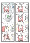 +++ 1girl 4koma :d :o bangs blunt_bangs cerulean_(kemono_friends) comic head_wings highres japanese_crested_ibis_(kemono_friends) kemono_friends multicolored_hair multiple_4koma murakami_rei one-eyed open_mouth page_number redhead silent_comic smile white_hair