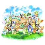 1boy :d bench bird black_hair blue_sky brown_eyes bulbasaur charmander chespin chikorita chimchar claws closed_eyes closed_mouth collarbone collared_shirt commentary commentary_request creature cyndaquil day denim fennekin froakie game_boy gen_1_pokemon gen_2_pokemon gen_3_pokemon gen_4_pokemon gen_5_pokemon gen_6_pokemon grass hair_between_eyes handheld_game_console happy heart heart_of_string ibui_matsumoto jeans lying mew mudkip on_stomach one_eye_closed open_mouth orange_eyes oshawott pants pikachu piplup pokemon pokemon_(creature) pokemon_(game) pokemon_rgby red_(pokemon) red_(pokemon)_(classic) red_eyes running shirt shoes short_sleeves sitting sky sleeping smile sneakers snivy squirtle tepig torchic totodile treecko turtwig
