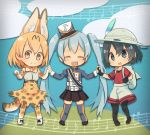 3girls :d ^_^ backpack bag black_hair black_legwear black_skirt blonde_hair blue_eyes blue_hair bow bowtie chibi closed_eyes crossover doremifa_rondo_(vocaloid) extra_ears hair_between_eyes hand_holding hat hat_feather hatsune_miku high-waist_skirt highres kaban_(kemono_friends) kemono_friends long_hair looking_at_viewer mini_hat mini_top_hat multiple_girls musical_note open_mouth pantyhose pantyhose_under_shorts pleated_skirt print_bow print_legwear print_neckwear print_skirt red_shirt serval_(kemono_friends) serval_print serval_tail shirt short_hair shorts skirt smile tail thigh-highs top_hat twintails very_long_hair vocaloid white_hat yellow_eyes yutsu