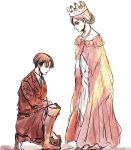 1boy 1girl christa_renz crown dress highres levi_(shingeki_no_kyojin) long_dress one_knee queen serious shingeki_no_kyojin simple_background