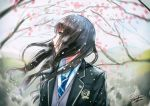 black_hair blazer blue_neckwear blurry blurry_background brown_eyes cherry_blossoms jacket kazuharu_kina long_hair looking_to_the_side open_mouth original outdoors school_uniform signature uniform upper_body vest