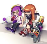 2girls absurdres arm_support bandanna bangs bike_shorts black_shorts blue_eyes blunt_bangs can coca-cola domino_mask fangs food headphones highres holding holding_food holding_weapon inkling inkling_(language) jacket leggings letterman_jacket logo long_hair long_sleeves looking_at_another luna_blaster_(splatoon) mask multiple_girls one_eye_closed open_mouth orange_hair pointy_ears puchiman purple_footwear purple_hair purple_tongue range_blaster_(splatoon) short_hair shorts single_vertical_stripe sitting skull_print smile soda_bottle soda_can splatoon splatoon_2 tank_top tentacle_hair twitter_username weapon white_footwear yellow_eyes