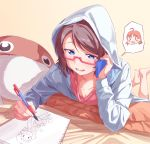 1girl absurdres barefoot bed_sheet blue_eyes blue_jacket character_pillow drawing feet_up gamjolno half-closed_eyes highres holding holding_phone hood hood_up hooded_jacket jacket love_live! love_live!_sunshine!! lying mechanical_pencil on_stomach open_mouth pencil phone pillow red-framed_eyewear semi-rimless_eyewear sketchbook smile solo spoken_person takami_chika talking_on_phone tan_background uchicchii under-rim_eyewear watanabe_you