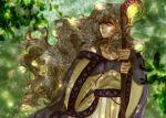 1girl diadora_(fire_emblem) dress fire_emblem fire_emblem:_seisen_no_keifu forest highres holding long_hair nature outdoors signature solo staff tempe violet_eyes wavy_hair white_hair