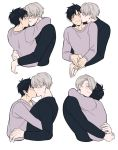2boys al_(ahr) black_hair blue_eyes blush brown_eyes cheek_kiss closed_eyes hug katsuki_yuuri kiss male_focus multiple_boys silver_hair smile viktor_nikiforov yaoi yuri!!!_on_ice