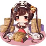 1girl animal animal_on_head anklet asymmetrical_legwear ayatsuki_sugure azur_lane bamboo_steamer baozi black_legwear blush brown_hair chibi china_dress chinese_clothes closed_mouth dress eating food fur-trimmed_jacket fur_trim grey_footwear hairband hairpods highres holding holding_food jacket jewelry long_hair long_sleeves on_head panda panda_on_head ping_hai_(azur_lane) pocket puffy_long_sleeves puffy_sleeves red_dress red_eyes shoes single_thighhigh sitting solo thigh-highs twintails very_long_hair white_background white_hairband white_jacket