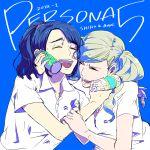 2girls blonde_hair blue_hair bottle hair_ornament hairclip happy_tears kotani multiple_girls persona persona_5 polo_shirt ponytail school_uniform suzui_shiho takamaki_anne tears twintails