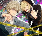 2boys al_(ahr) animal_print bakugou_katsuki blazer blonde_hair boku_no_hero_academia caution_tape clenched_teeth crossover green_eyes hair_over_one_eye highres hood hoodie jacket leopard_print male_focus middle_finger multiple_boys red_eyes school_uniform teeth thumbs_down tongue tongue_out trait_connection yuri!!!_on_ice yuri_plisetsky