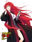 1girl :d ahoge black_neckwear blue_eyes breasts eyebrows_visible_through_hair floating_hair hair_between_eyes hand_in_hair high_school_dxd highres holding large_breasts long_hair miniskirt miyama-zero official_art open_mouth pleated_skirt purple_skirt redhead rias_gremory simple_background skirt smile solo standing very_long_hair white_background