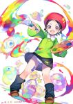 1girl :d adeleine ario bangs beret black_hair black_legwear black_skirt bronto_burt brown_eyes collared_shirt eyebrows green_shirt hat holding kirby_(series) leg_warmers legs_apart long_sleeves miniskirt open_mouth paint paintbrush panties pantyshot pantyshot_(standing) parted_bangs red_hat scarfy shirt short_hair skirt skirt_lift smile standing underwear waddle_dee white_panties