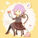 1girl :3 bag black_legwear blush_stickers bow bowtie brown_eyes brown_skirt chair character_name grey_shirt hand_mirror hand_on_own_face handbag heart holding_mirror idolmaster idolmaster_cinderella_girls koshimizu_sachiko long_sleeves mirror moyo_(amaniwa) musical_note purple_hair shirt short_hair sitting skirt smile solo yellow_neckwear