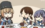 3girls black_hat blue_shawl blush bread brown_hair chair closed_eyes commentary dated eating fingerless_gloves food fork gloves gradient_hair hair_ornament hairclip hamu_koutarou hat highres holding holding_food kantai_collection knife low_twintails multicolored_hair multiple_girls open_mouth papakha plate sailor_collar sailor_hat school_uniform serafuku shirayuki_(kantai_collection) table tashkent_(kantai_collection) tsushima_(kantai_collection) twintails