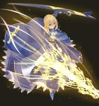 1girl ahoge aqua_eyes armor armored_boots armored_dress artoria_pendragon_(all) blonde_hair blue_dress blue_footwear boots dress eyebrows_visible_through_hair fate/stay_night fate_(series) full_body hair_between_eyes highres holding holding_shield holding_weapon kurogiri lance looking_at_viewer polearm saber shield short_hair_with_long_locks sidelocks solo weapon