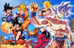 ahoge black_hair darwin_nunez dougi dragon_ball dragon_ball_(object) dragon_ball_gt dragon_ball_super dragonball_z flying flying_nimbus highres looking_at_viewer midair monkey_tail multiple_persona open_mouth parted_lips shirtless silver_hair smile son_gokuu spiky_hair staff super_saiyan super_saiyan_3 super_saiyan_4 super_saiyan_blue tail ultra_instinct
