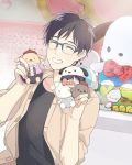 1boy ^_^ al_(ahr) black_hair blue-framed_eyewear character_doll closed_eyes glasses grin hello_kitty hello_kitty_(character) katsuki_yuuri male_focus pochacco pompompurin sanrio smile yuri!!!_on_ice