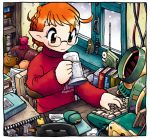 1girl ahoge alien androgynous apartment bedroom book brown_eyes cable chair computer_keyboard cup desk drinking genderswap glasses hayami_rasenjin monitor mousepad mug notebook oekaki orange_hair original otaku personal_terminal phone pointy_ears radio radio_antenna room science_fiction sitting snowing solaris_(copyright) soviet stanislaw_lem_(person) stuffed_animal stuffed_toy sweater teddy_bear toy window writing