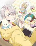 1boy al_(ahr) blue_eyes character_doll cup food fork from_above hair_over_one_eye hello_kitty hello_kitty_(character) hood hoodie male_focus mug pochacco pompompurin sanrio silver_hair sitting smile viktor_nikiforov yuri!!!_on_ice
