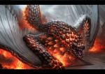 bazelgeuse day dragon explosion fire full_body glowing highres letterboxed monster_hunter monster_hunter:_world nekoemonn no_humans nostrils open_mouth outdoors scales sharp_teeth slit_pupils smoke snout solo spikes teeth tongue wings wyvern yellow_eyes