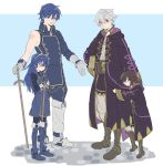 2boys 2girls ahoge black_hair blue_eyes blue_hair blush cape falchion_(fire_emblem) father_and_daughter fire_emblem fire_emblem:_kakusei gloves highres hood hooded_jacket itou_(very_ito) jacket krom long_hair lucina male_my_unit_(fire_emblem:_kakusei) mamkute mark_(fire_emblem) multiple_boys multiple_girls my_unit_(fire_emblem:_kakusei) open_mouth robe short_hair smile tiara white_hair younger