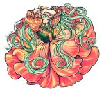 1girl aqua_eyes aqua_hair arms_up blush closed_eyes dress evillious_nendaiki eyelashes floating_hair floral_dress florist flower head_scarf long_hair matryoshka-ruth pink_dress plateau_no_hana_(vocaloid) solo twintails very_long_hair vocaloid