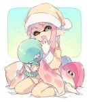 1girl bangs bed_sheet blunt_bangs commentary domino_mask fangs full_body green_eyes hat holding holding_stuffed_animal inkling jellyfish_(splatoon) long_hair long_sleeves looking_at_viewer mask on_bed one_eye_closed pajamas pants pillow pink_hair pointy_ears sen_squid shirt sitting sleepy solo splatoon splatoon_1 squid stuffed_animal stuffed_toy tearing_up tentacle_hair wariza yawning yellow_hat yellow_pants yellow_shirt