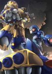 2boys absurdres android angetsu_no_koshousha arm_cannon cape commentary_request facial_hair general_(rockman_x) helmet hidden_eyes highres mecha multiple_boys mustache rockman rockman_x weapon x_(rockman)