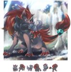 aqua_eyes claws closed_mouth commentary commentary_request creature expressions gen_5_pokemon happy ibui_matsumoto no_humans open_mouth pokemon pokemon_(creature) standing tied_hair whiskers zoroark zorua