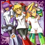 3girls alia_(rockman) android arm_over_head arms_behind_head bangs blonde_hair blue_eyes blush candy commentary_request dark_skin eyewear_on_head food fringe gloves hair_over_eyes headgear headphones hime_cut layer lips lollipop looking_to_the_side multiple_girls napo open_mouth palette_(rockman) purple_hair rockman rockman_x rockman_x8 shirt shirt_grab shirt_pull sidelocks t-shirt white_gloves white_shirt