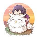 1girl ahoge bird black_hair blush chibi closed_eyes feh_(fire_emblem_heroes) fire_emblem fire_emblem:_kakusei fire_emblem_heroes gloves highres hood jacket mark_(fire_emblem) nakabayashi_zun open_mouth owl short_hair simple_background sleeping smile