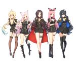 5girls ahoge animal_ears black_footwear black_gloves black_hair black_legwear black_neckwear black_skirt blonde_hair blue_eyes blue_hair blush boots breasts cat_ears character_request choker cleavage closed_mouth collarbone copyright_request eyebrows_visible_through_hair fingerless_gloves garter_straps gloves green_eyes hairband knee_boots large_breasts long_hair looking_at_viewer multicolored_hair multiple_girls necktie pink_hair red_eyes skirt smile thigh-highs tp_(kido_94) two-tone_hair violet_eyes