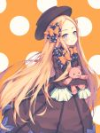 1girl abigail_williams_(fate/grand_order) bangs black_bow black_dress black_hat blonde_hair blue_eyes blush bow butterfly closed_mouth dress fate/grand_order fate_(series) forehead h2o_(dfo) hair_bow hat long_hair long_sleeves looking_at_viewer object_hug orange_background orange_bow parted_bangs polka_dot polka_dot_background polka_dot_bow sleeves_past_fingers sleeves_past_wrists smile solo stuffed_animal stuffed_toy teddy_bear very_long_hair