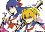 2girls :3 baseball_bat blonde_hair blue_hair blue_sailor_collar bow chains commentary_request hair_bow hair_ornament hair_scrunchie hario_4 holding holding_weapon long_hair multiple_girls nail nail_bat neckerchief pipimi poptepipic popuko red_bow red_neckwear sailor_collar school_uniform scrunchie serafuku shaded_face sickle twintails weapon yellow_eyes yellow_scrunchie