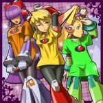 3girls alia_(rockman) android arm_over_head arms_behind_head bangs blonde_hair blue_eyes blush candy dark_skin eyewear_on_head food fringe gloves hair_over_eyes headgear headphones hime_cut layer lips lollipop looking_to_the_side multiple_girls napo open_mouth palette_(rockman) purple_hair rockman rockman_x rockman_x8 shirt shirt_grab shirt_pull sidelocks t-shirt white_gloves