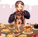 1girl abigail_williams_(fate/grand_order) bangs black_bow black_dress black_hat blonde_hair blue_eyes blueberry bow cake cheesecake cherry commentary_request dress eyebrows_visible_through_hair fate/grand_order fate_(series) food forehead fork fruit hair_bow hat holding holding_fork holding_knife knife long_hair long_sleeves looking_at_viewer open_mouth orange_bow pancake parfait parted_bangs plate polka_dot polka_dot_bow pudding sleeves_past_fingers sleeves_past_wrists slice_of_cake solo stack_of_pancakes strawberry stuffed_animal stuffed_toy table teddy_bear upper_teeth very_long_hair whipped_cream woumu