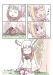 2girls :d cerulean_(kemono_friends) closed_eyes comic gloves grass hand_holding head_wings highres japanese_crested_ibis_(kemono_friends) kemono_friends multicolored_hair multiple_girls murakami_rei musical_note open_mouth page_number pantyhose petals red_gloves redhead silent_comic sitting smile white_hair